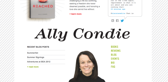 Ally Condie author Matched Crossed Reached website