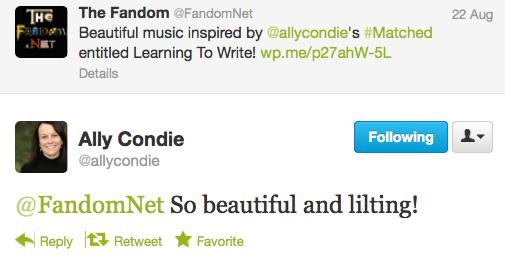 Ally Condie Tweet Sam Cushion Matched Music