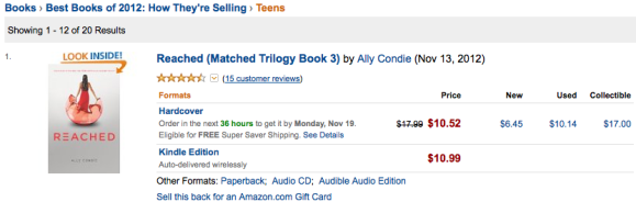Reached by Ally Condie Matched Trilogy Amazon Best Teen Books of 2012 List